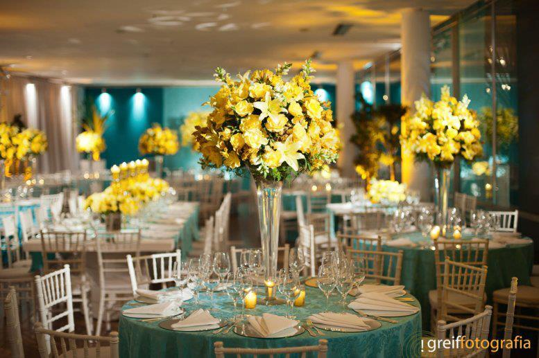 decoracao para casamento em azul e amarelo: da decoração de casamento em amarelo