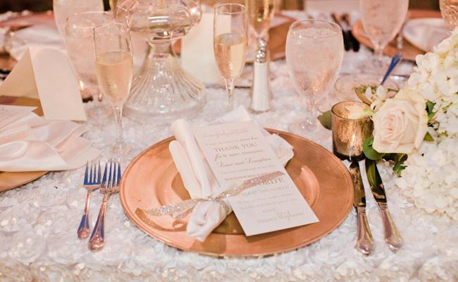 Decoração cobre no casamento