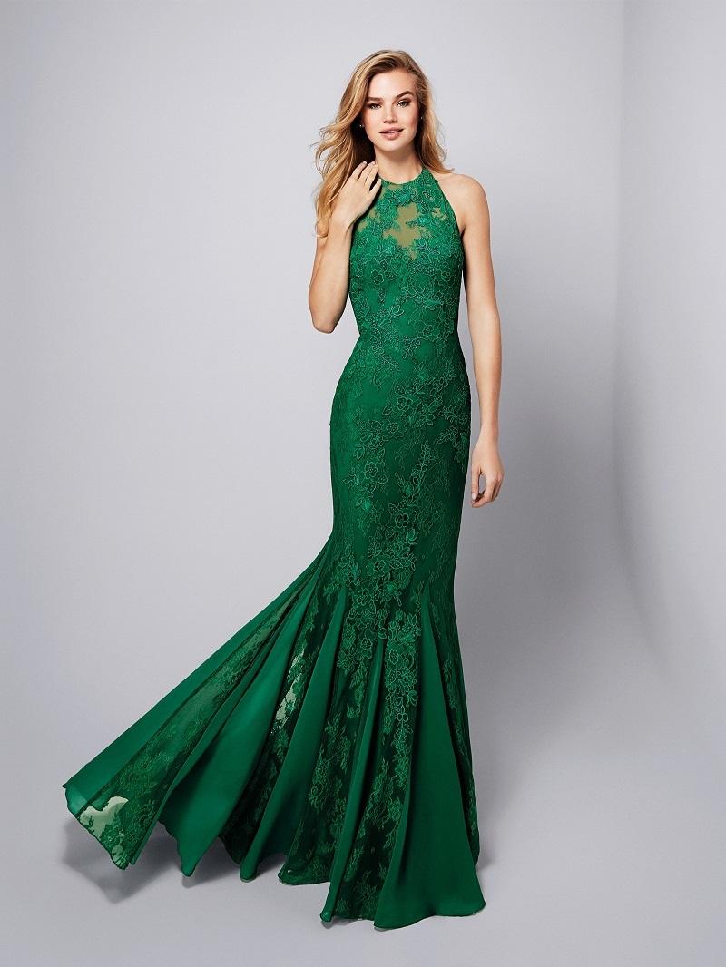 Vestido para festa verde musgo