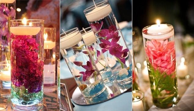 Decoração de casamento com velas flutuantes